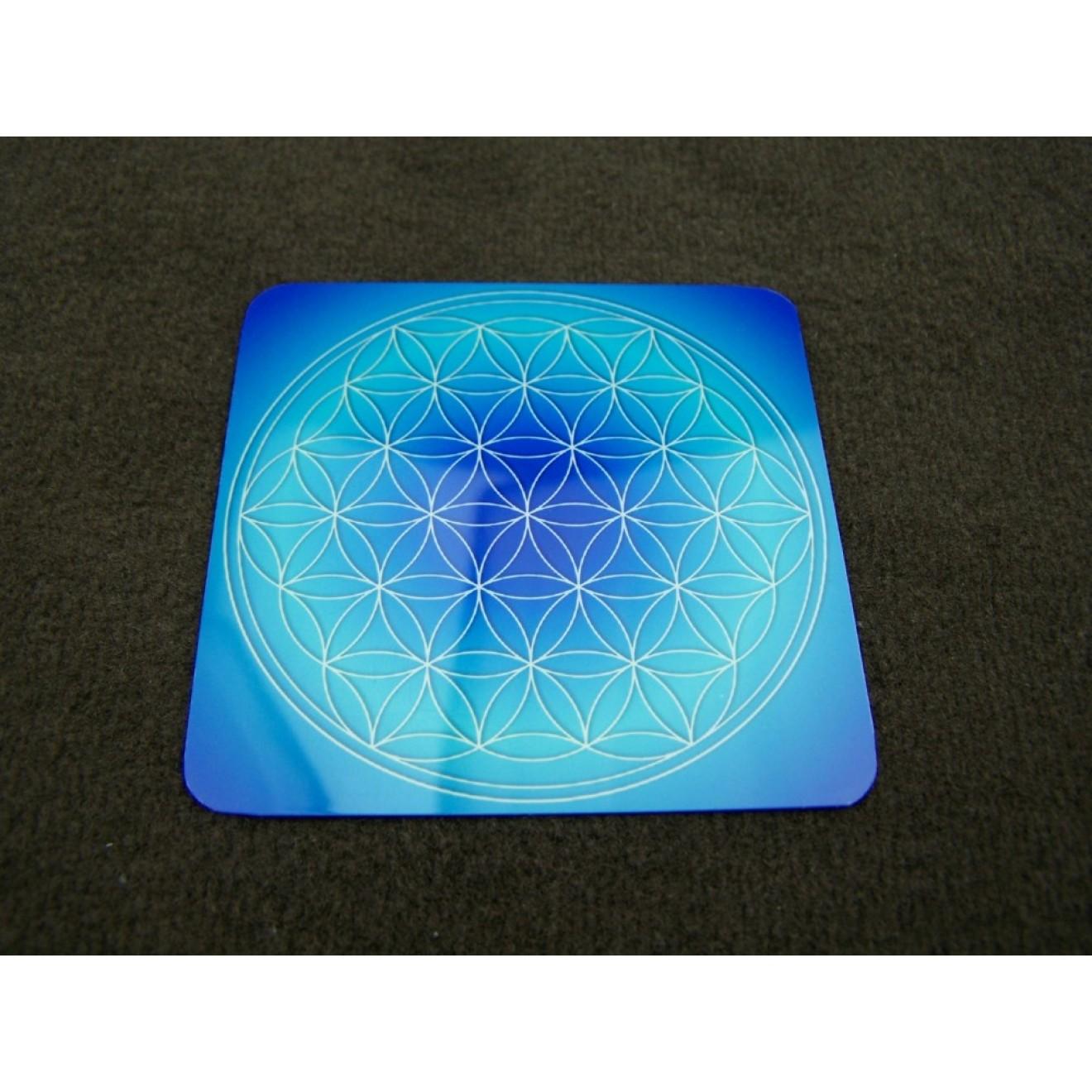 Untersetzer Blume des Lebens 8 cm Energiekarte Lebensblume Blau